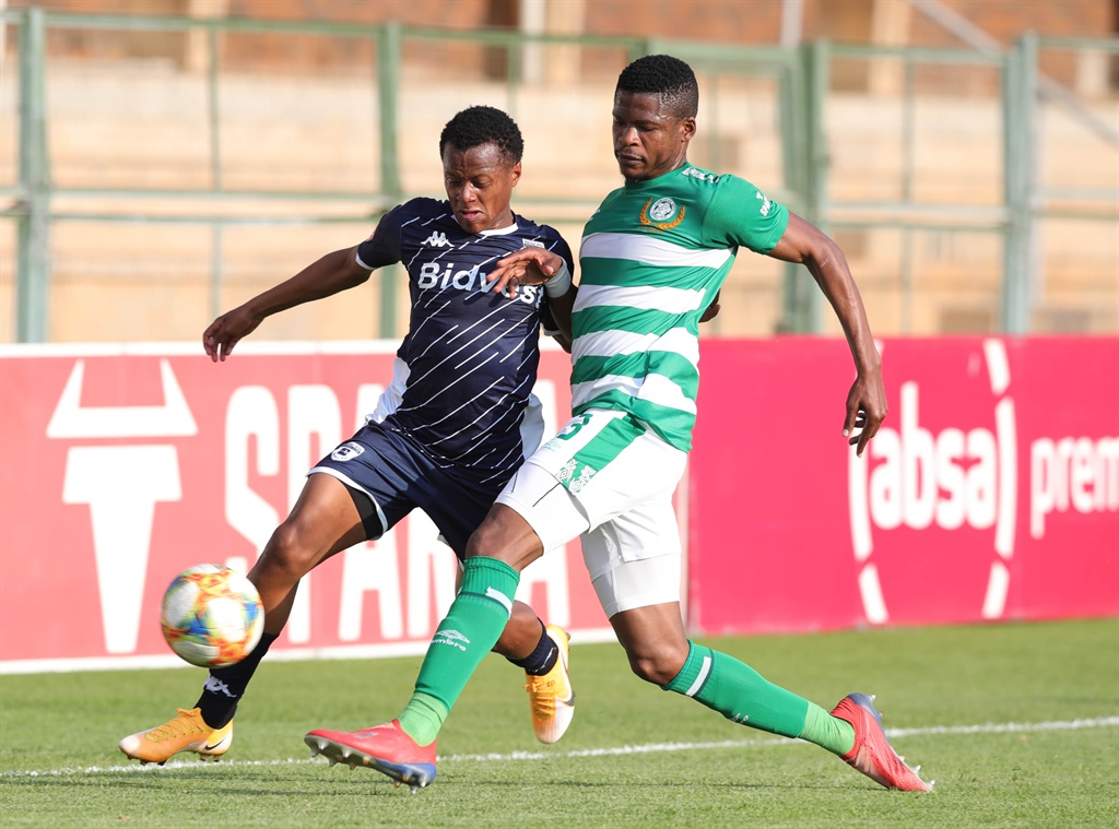 Rowan Lancaster Human of Bidvest Wits tackled by Mzwanele Mahashe of Bloemfontein Celtic during the Absa Premiership 2019/20 match between Bloemfontein Celtic and Bidvest Wits at Tuks Stadium, Pretoria, on August 27 2020  Picture: Samuel Shivambu/BackpagePix