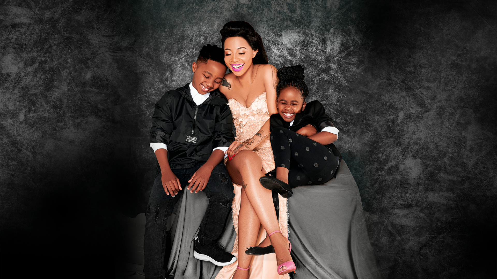 Kelly Khumalo with her children Christian and Thingo. Picture: Supplied