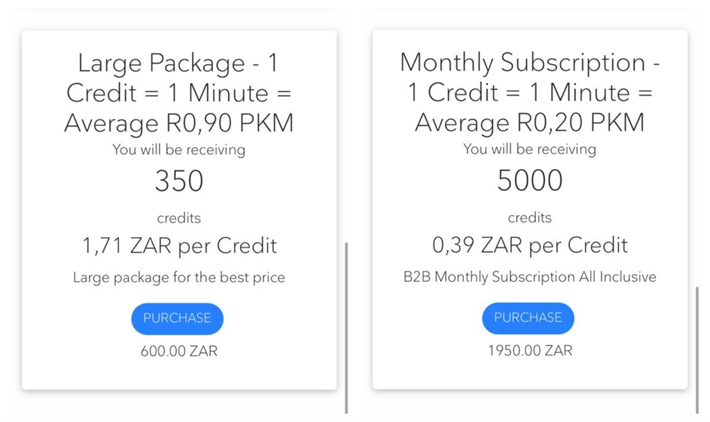 Credit package and subscription