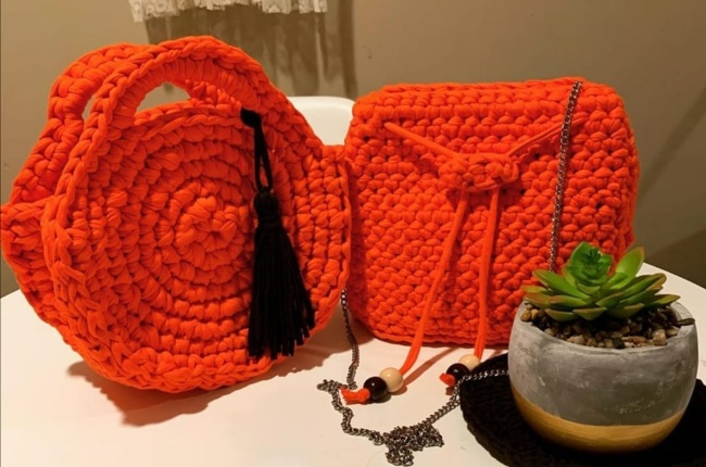 A range of bags the pair created to raise the fund