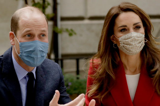 Prince William and Kate Middleton covered up during a visit to St Bartholomew's Hospital in London last month to meet frontline workers (Photo: Gallo Images/Getty Images)