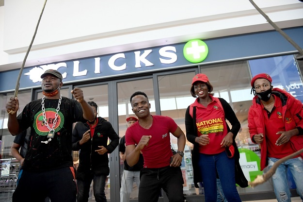 EFF supporters at Menlyn Mall in Pretoria, South Africa.