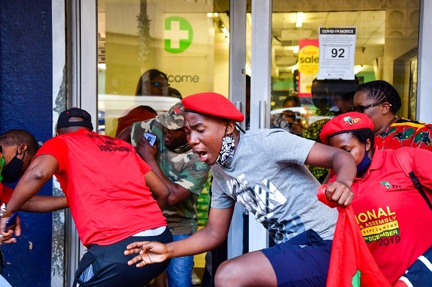 EFF Members at Clicks stores in the Durban CBD during the national shutdown of all Clicks outlets.