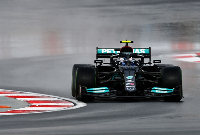 Valtteri Bottas of Finland driving the (77) Mercedes AMG Petronas F1 Team Mercedes W12 during final practice ahead of the F1 Grand Prix of Turkey at Intercity Istanbul Park on October 09, 2021 in Istanbul, Turkey.