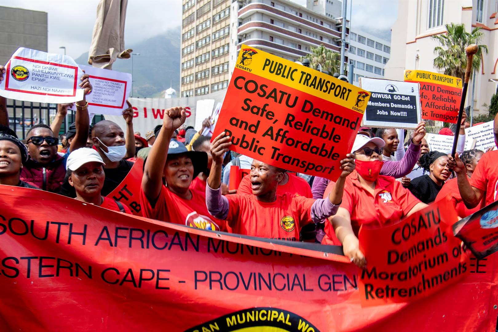 Trade unions affiliated to Cosatu and the Federation of Unions of SA (Fusa) declared a deadlock last week. Photo: Jaco Marais