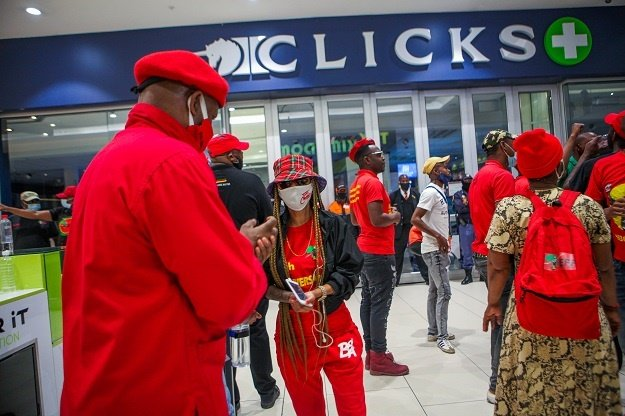 EFF members at Sandton City Mall during the national shutdown of all Clicks outlets.