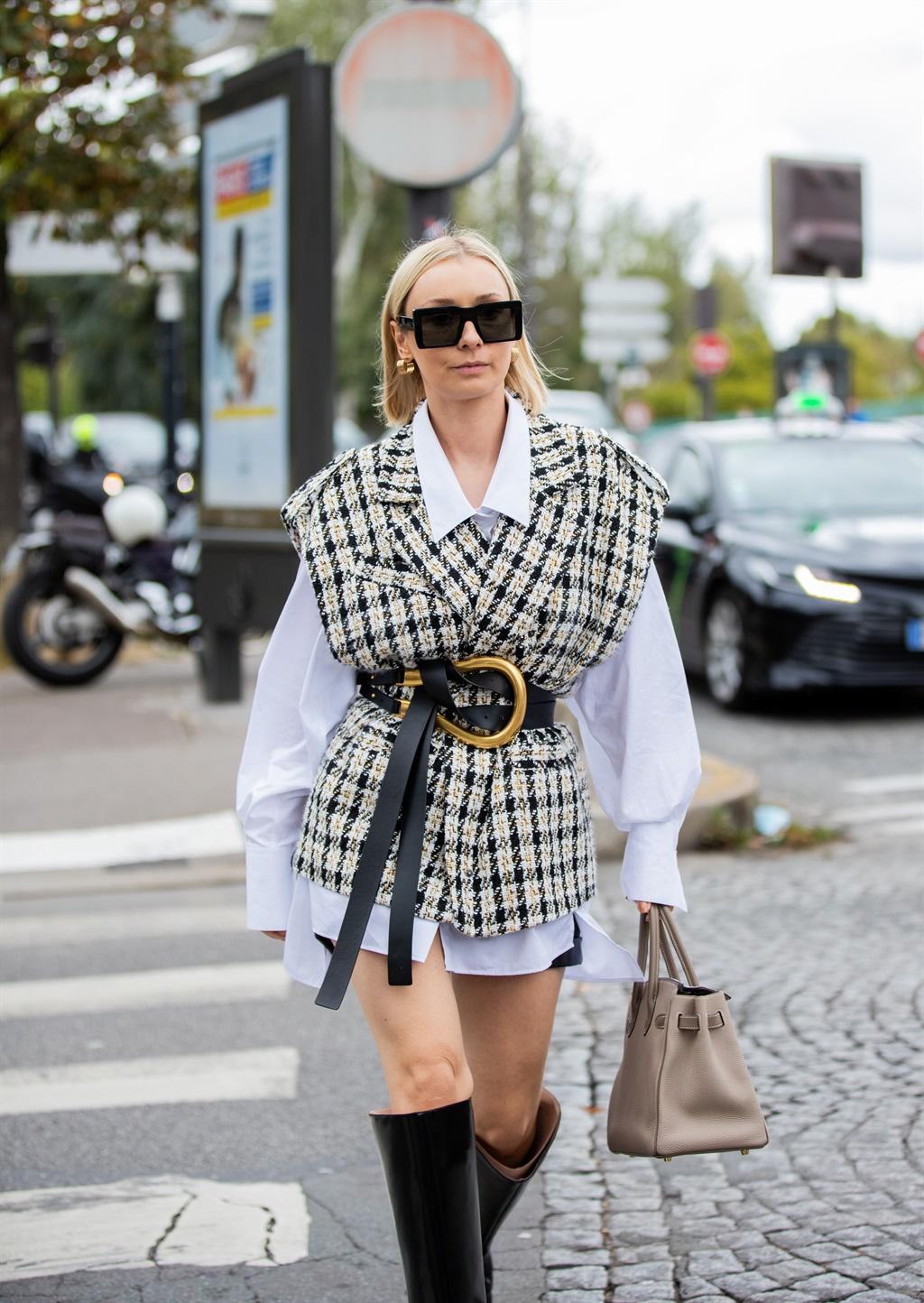 PARIS, FRANCE - OCTOBER 04: Maria Bernad seen wear