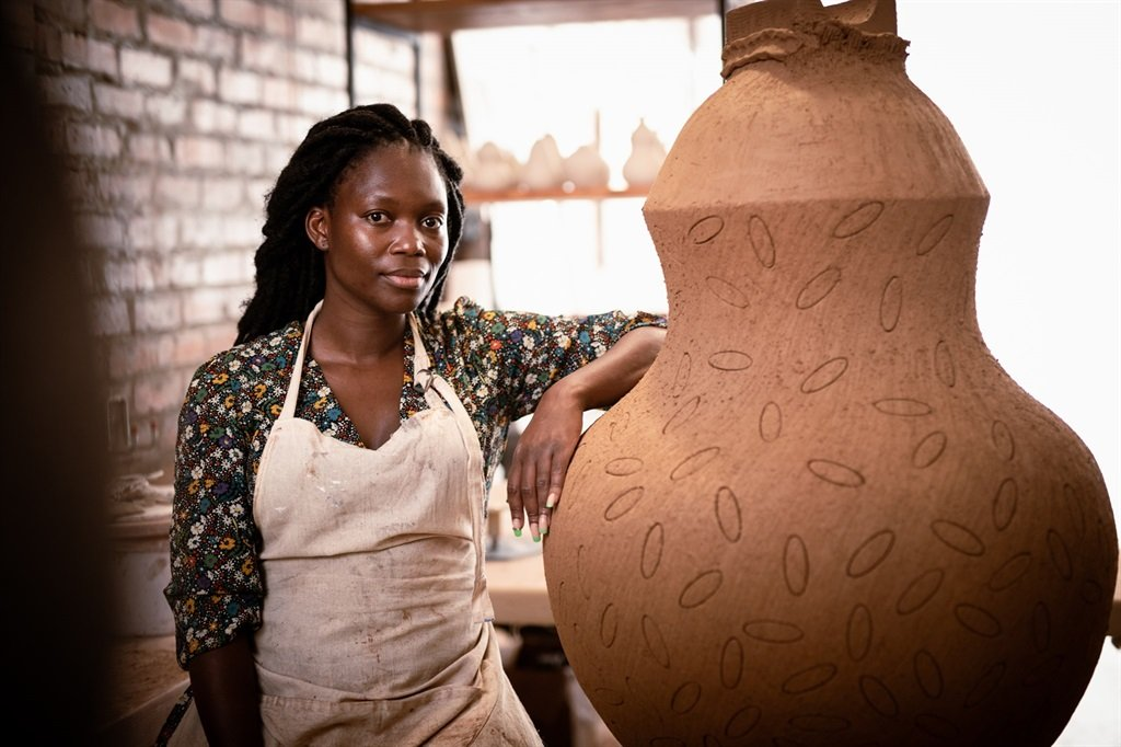 Inspired by the life-sustaining daily rituals she witnessed as a young girl growing up in the Eastern Cape, Zizipho Poswa's large-scale, hand-coiled sculptures are material declarations of womanhood. (Richard Keppel Smith/ Southern Guild)