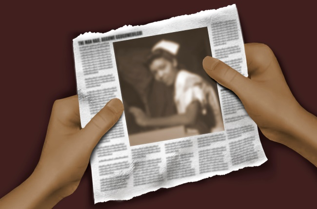 Someone holding a newspaper clipping. (ILLUSTRATION: MICHAEL DE LUCCHI)