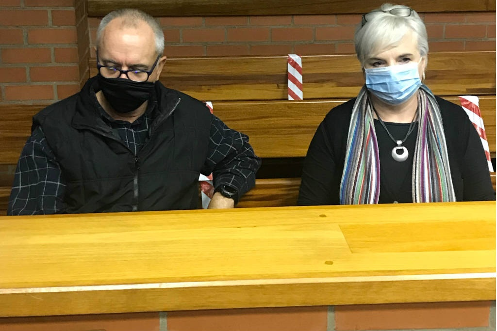 Port Elizabeth resident Diane Attwell in court with her husband on Thursday 10 September 2020, in connection with an incident in which a firearm was brandished during a skirmish with protesting EFF supporters.