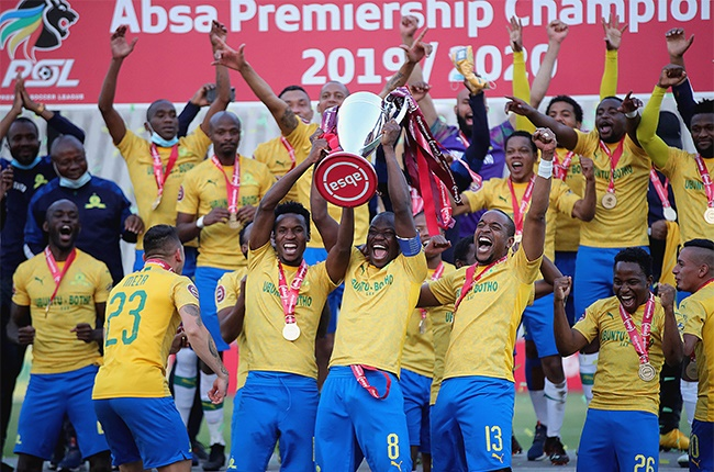 Mamelodi Sundowns celebrate with the trophy during the Absa Premiership match between Mamelodi Sundowns and Black Leopards at Dobsonville Stadium on 5 September 2020 in Johannesburg.