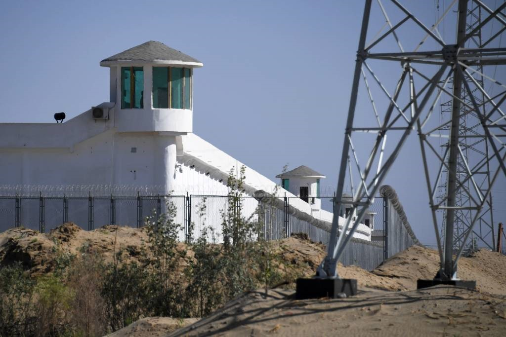 This file photo shows watchtowers on a high-security facility near what is believed to be a re-education camp in China's northwestern Xinjiang region.