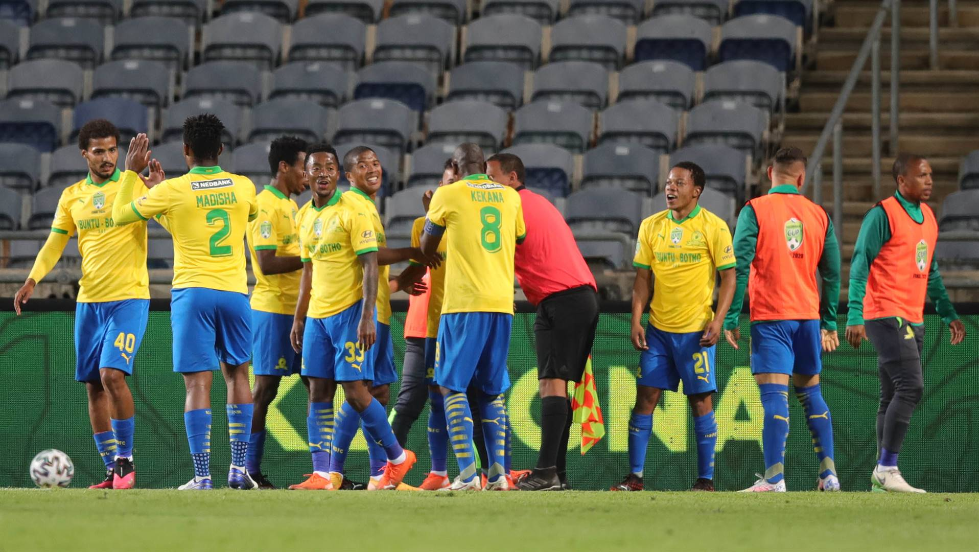 Mamelodi Sundowns brought the curtain down on the season with a win over Bloemfontein Celtic in the Nedbank Cup final last Saturday. Picture: Samuel Shivambu / BackpagePix