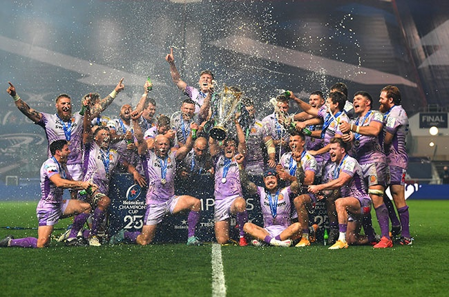 Exeter Chiefs celebrate their European Champions Cup win.
