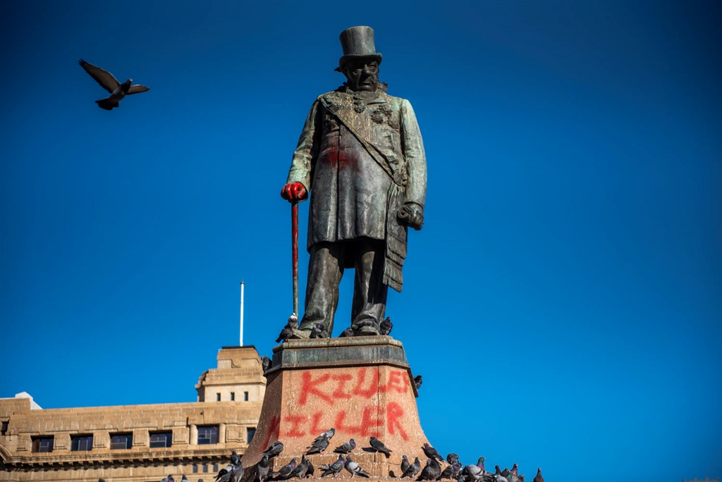 Paul Kruger statue on Church Square on June 10, 2020 in Pretoria, South Africa. The statue was painted with red paint and the words killer painted on.   It is reported that the death of George Floyd is leading to the removal by protesters in some cases and city leaders in others of contentious statues that have riled some residents for decades. (Photo by Alet Pretorius/Gallo Images via Getty Images)
