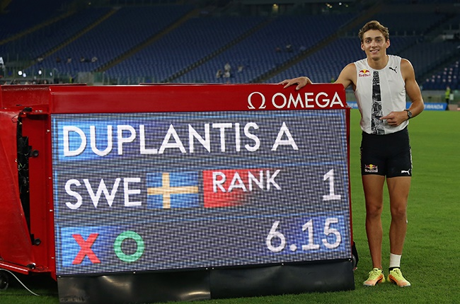 Armand Duplantis of Sweden poses after the new world record in the pole vault during the IAAF Diamond League 40th golden gala Pietro Mennea at Olimpico Stadium in Rome on 17 September 2020.