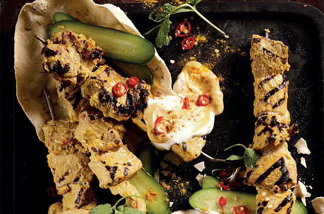 These curried pork kebabs may look impressive, but they're simple enough for a weeknight meal!