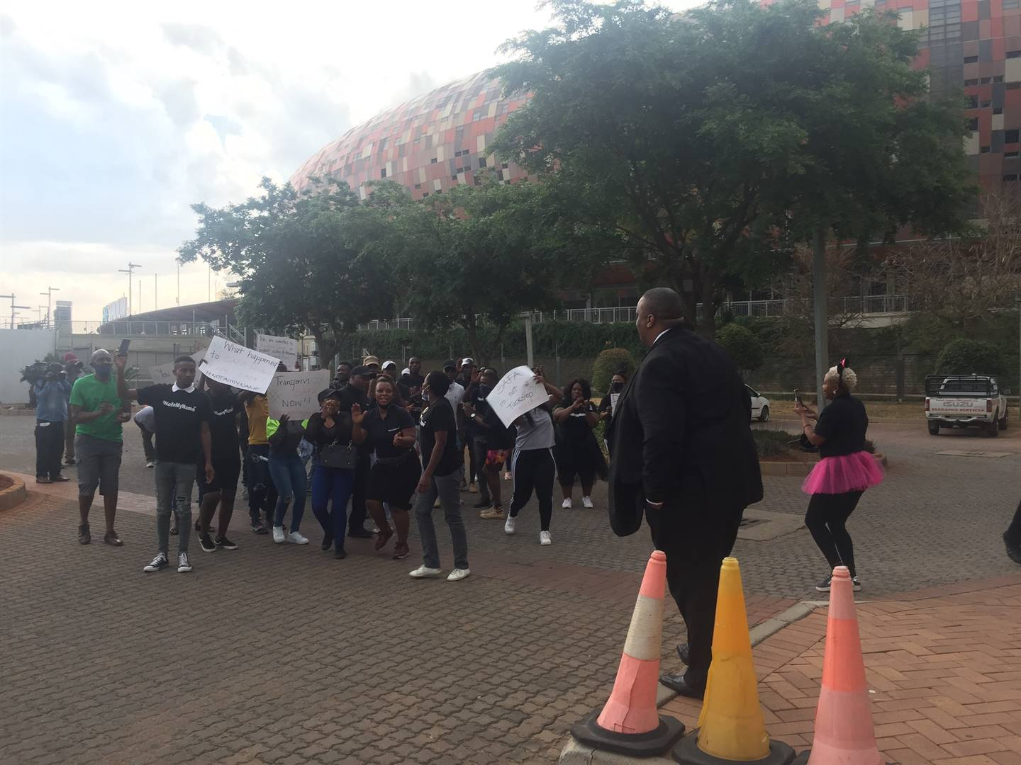 A group of protesters stormed Safa House on Saturday. Picture: Daniel Mothowagae