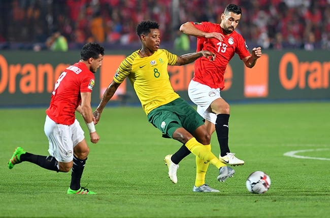 Bongani Zungu in action for Bafana Bafana during the African Cup of Nations Last 16 match against Egypt in Cairo on 6 July 2019.