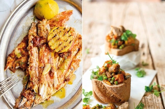Snoek with paprika garlic butter and Easy vegetable bunny chow