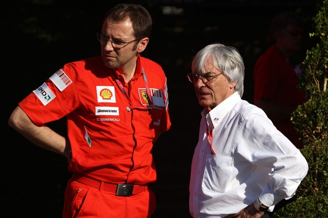Stefano Domenicali, Former Ferrari General Director chats with Bernie Ecclestone during the Grand Prix at Magny-Cours, Nevers, France many years ago. (Photo by David Davies - PA Images/PA Images via Getty Images)