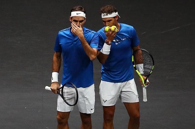 Roger Feder and Rafael Nadal playing doubles in the Laver Cup. (Getty Images)