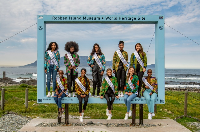 Top 10 finalists of the Miss South Africa competition visit to Robben Island on September 11, 2020 in Cape Town, South Africa. Dressed by Haute Afrika. (Photo by Jaco Marais/Die Burger/Gallo Images via Getty Images)