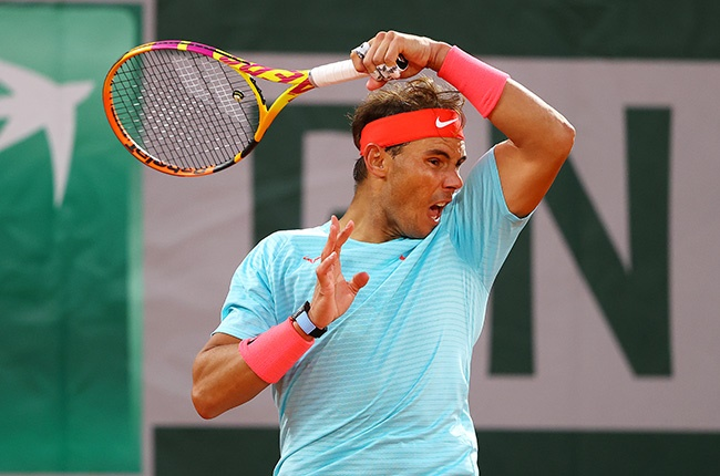 Rafael Nadal of Spain plays a forehand during his first round match against Egor Gerasimov of Belarus at the French Open on 28 September 2020.