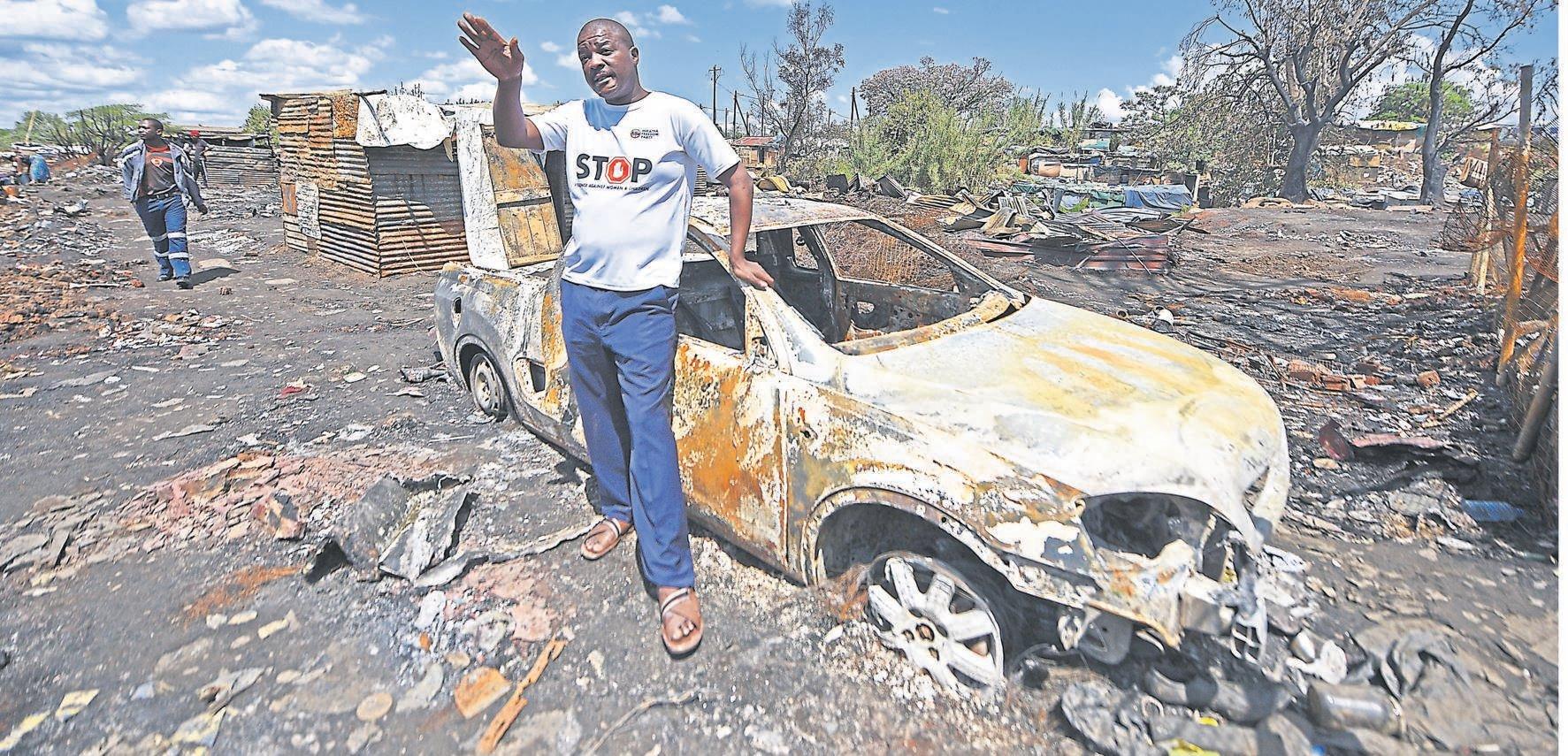 PHOTO: Moeketsi MamaneIFP councillor Sifiso Nene lost his bakkie and spaza shop in the Jika Joe fire.