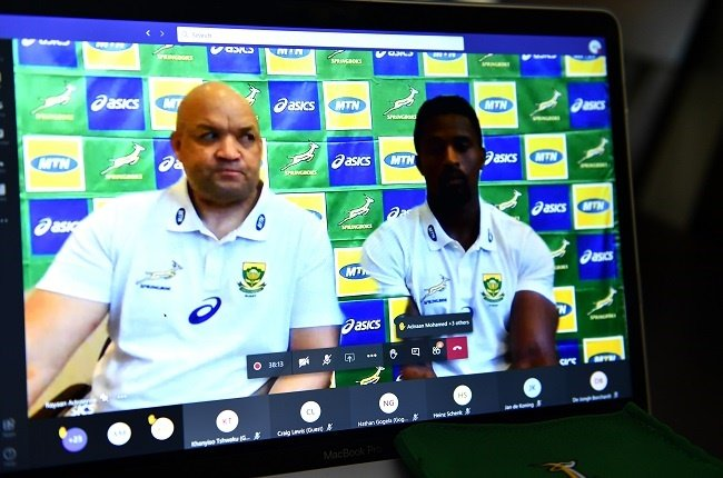 Gold team coach, Deon Davids and Sikhumbuzo Notshe during the virtual team announcement press conference on September 30, 2020 in Cape Town, South Africa. (Photo by Ashley Vlotman/Gallo Images)