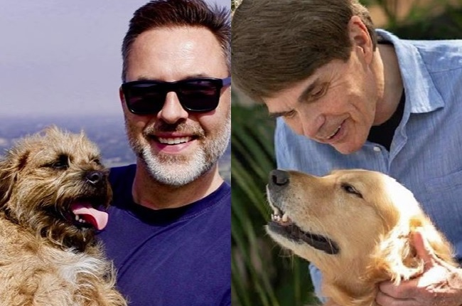 Authors David Walliams and Dean Koontz with their beloved pooches.