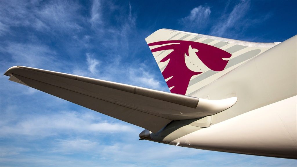 Tail fin of a Qatar Airways plane