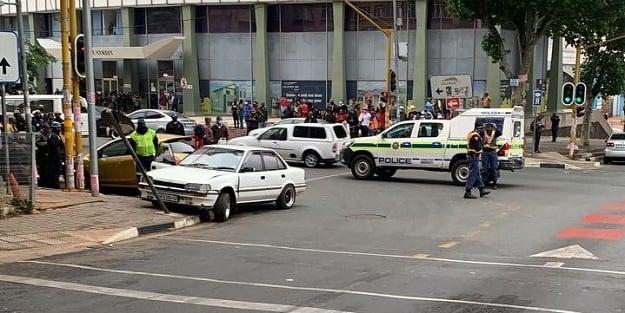 The scene of the shooting in Braamfontein.