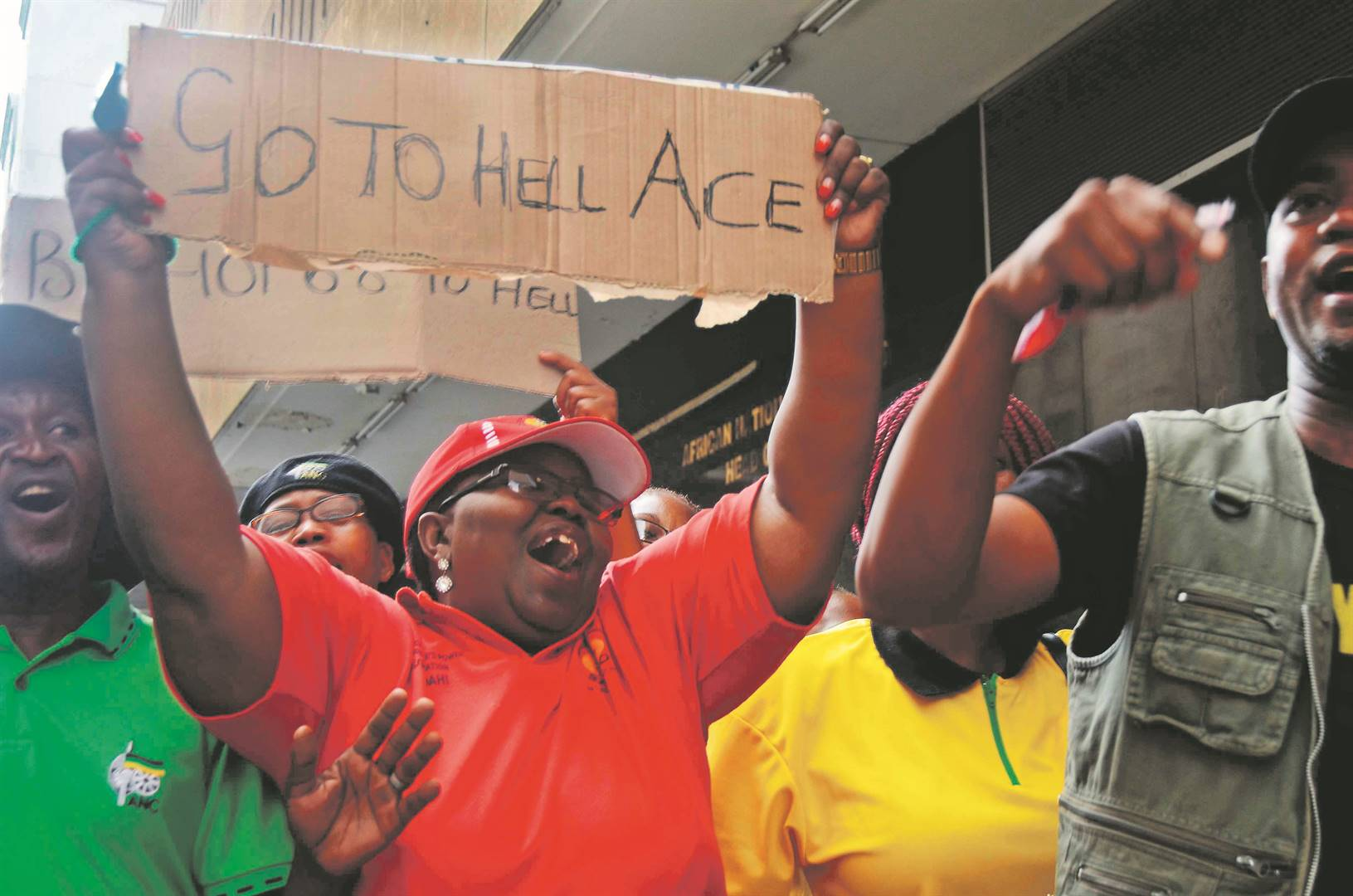 Members of the ANC Free State region protest outside Luthuli House on March 5 2018 in Johannesburg. Angry Free State ANC members descended on the party's headquarters, demanding that the provincial task team be reconstituted because it was pro-Ace Magashule, the former premier of the province. Picture: Gallo Images
