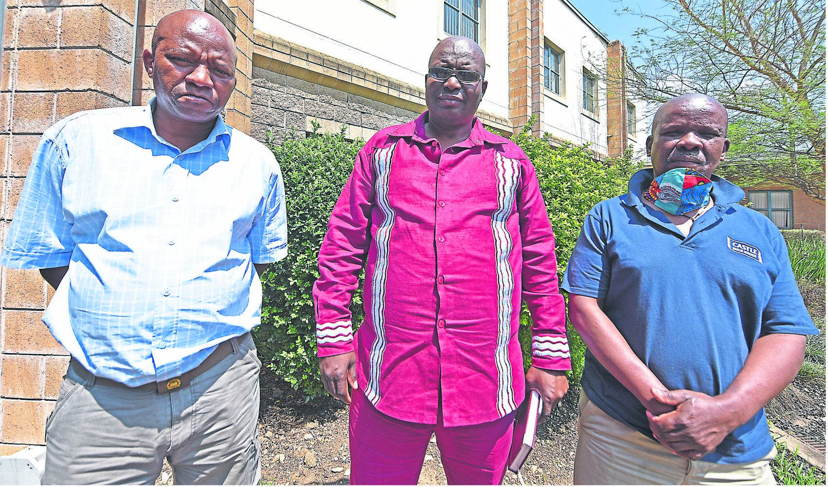 War vets (from left) Malusi Hlatshwayo, Thamsanqa Christopher Ngubu and Thamsanqa Mngadi have refused to move out of the flats that were invaded at the Aloe Ridge social housing complex in Westgate, Pietermaritzburg.