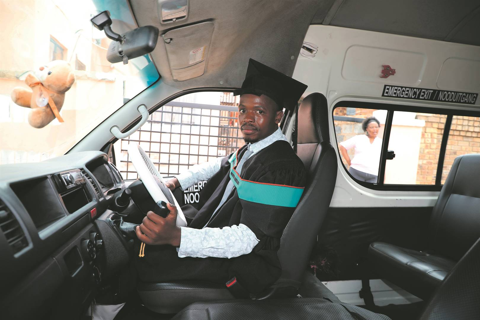 Nkazimulo Khumalo from Ivory Park in Tembisa paid for his bachelor of education degree with Unisa by working hard as a taxi driver. Picture: Antonio Muchave / Sowetan
