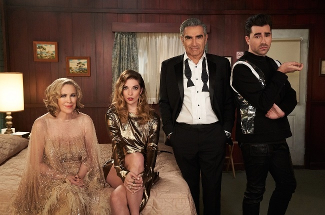 Schitt's Creek stars (from left) Catherine O'Hara, Annie Murphy, Eugene Levy and Dan Levy all took home an Emmy at this year's ceremony. (Photo: Netflix)