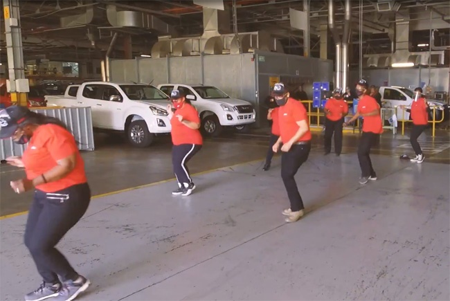 Isuzu SA staff doing the Jerusalema dance challenge. Image: Isuzu