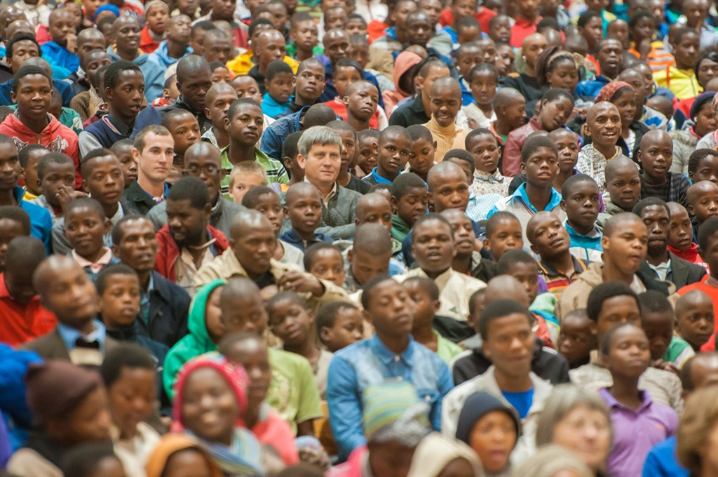 A typical audience during a youth conference held at KwaSizabantu Mission in 2014.