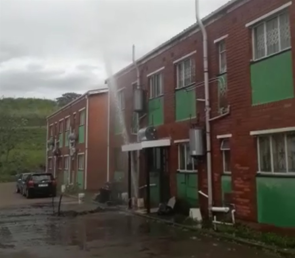 A burst pipe that sprayed for more than two hours before being attended to in KwaDukuza, on the KZN North Coast.