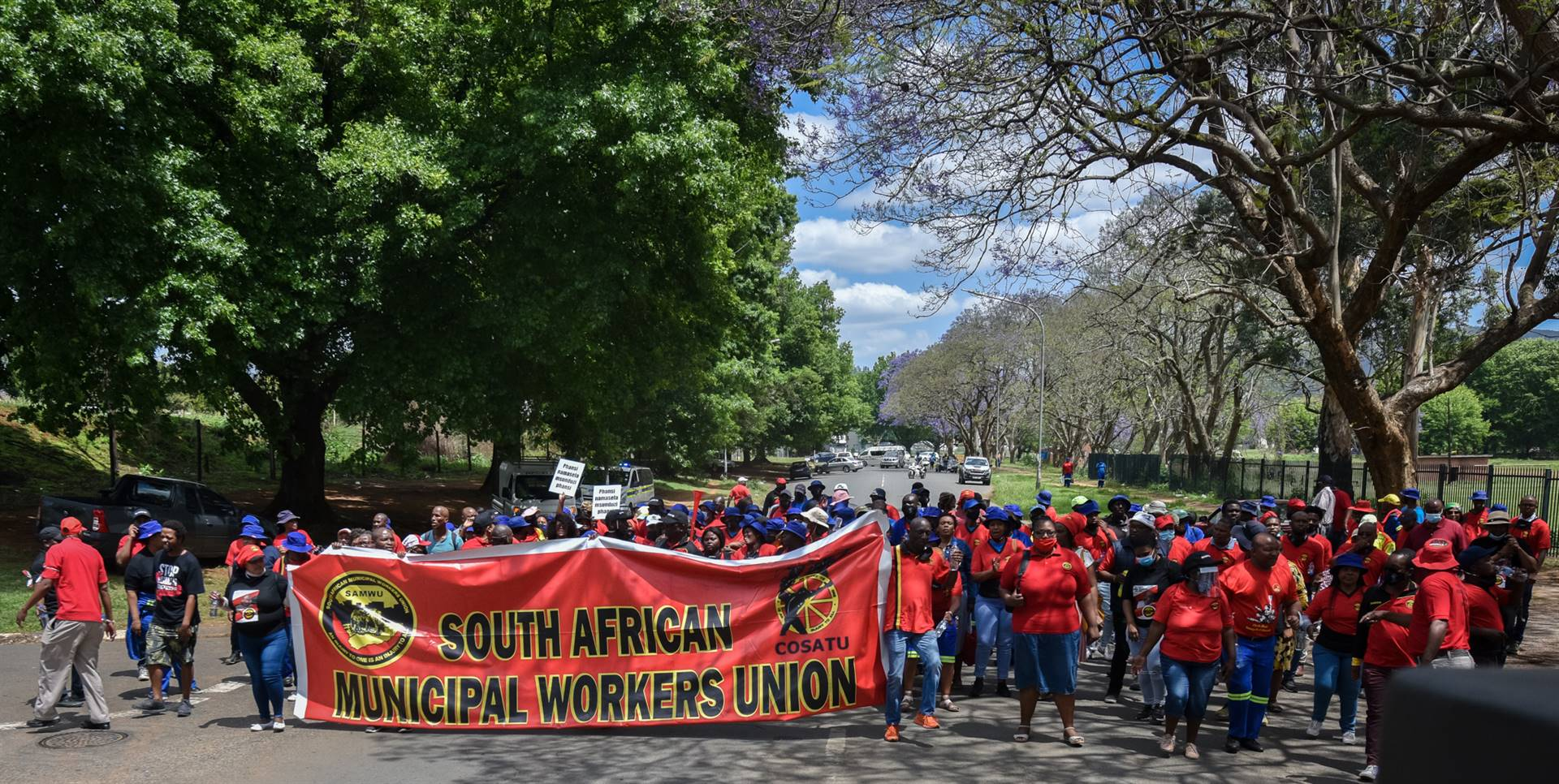 Msunduzi municipal workers during Friday's march i