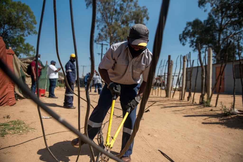 DIEPSLOOT, SOUTH AFRICA - SEPTEMBER 29: Eskom work