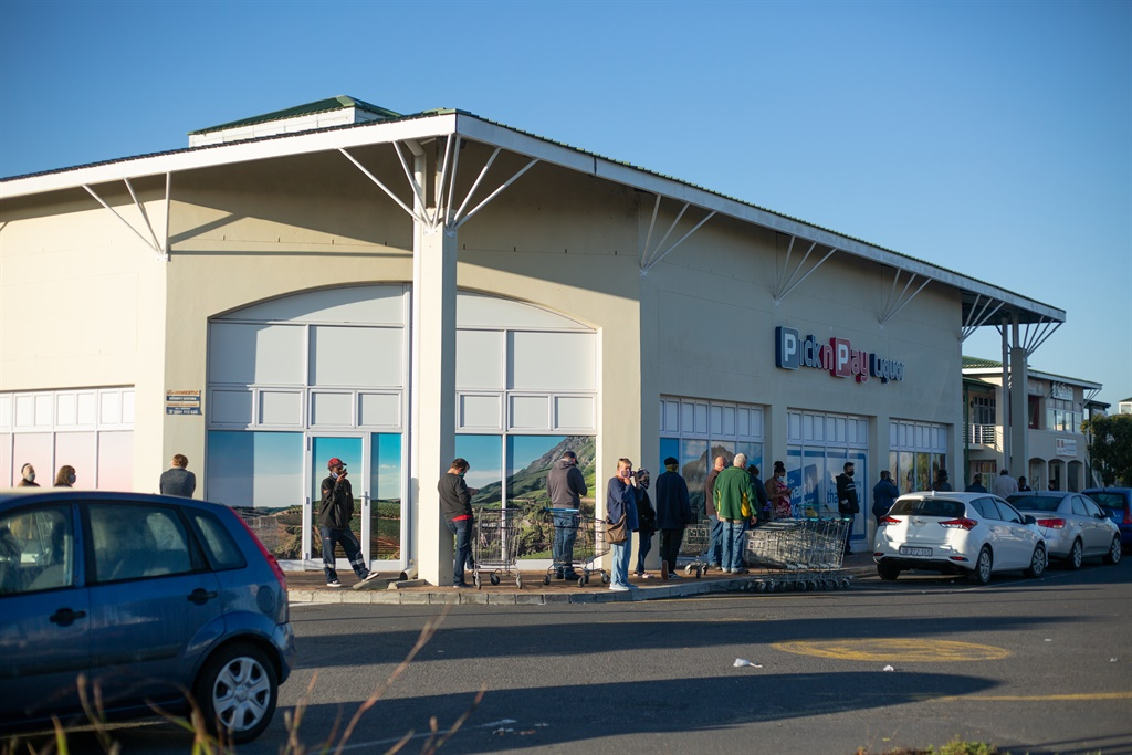 Long queues at Pick 'n Pay liquor in Parklands on June 01, 2020 in Cape Town.