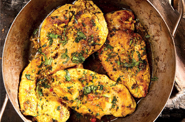 The chakalaka butter ensures the chicken breasts stay deliciously juicy.