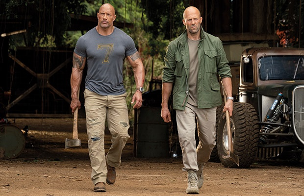 Dwayne Johnson and Deckard Shaw in 'Hobbs & Shaw'.