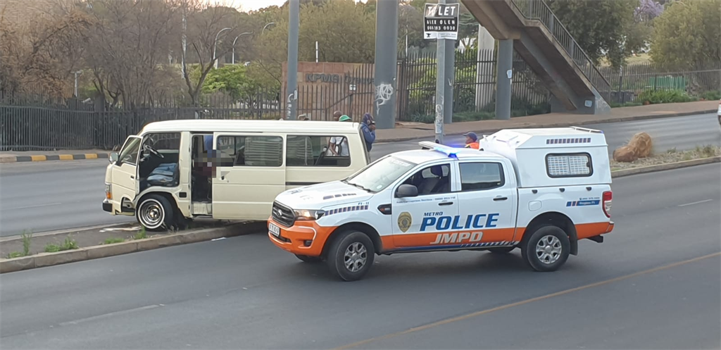 Crime scene where a taxi driver was shot dead by a passenger (Mpho Raborife, News24)
