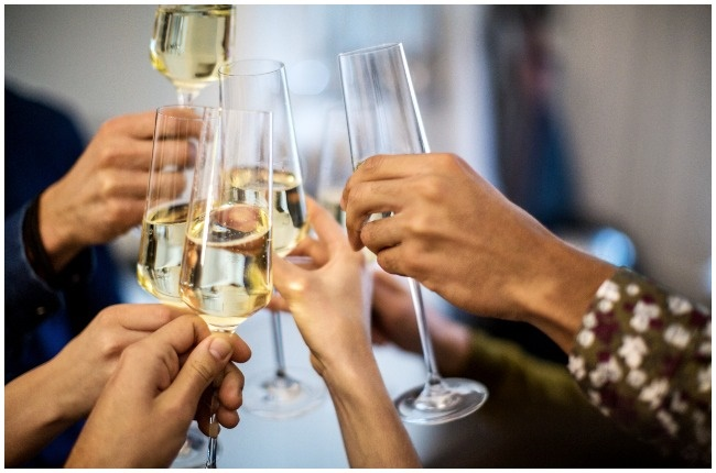 People toasting with Champagne.