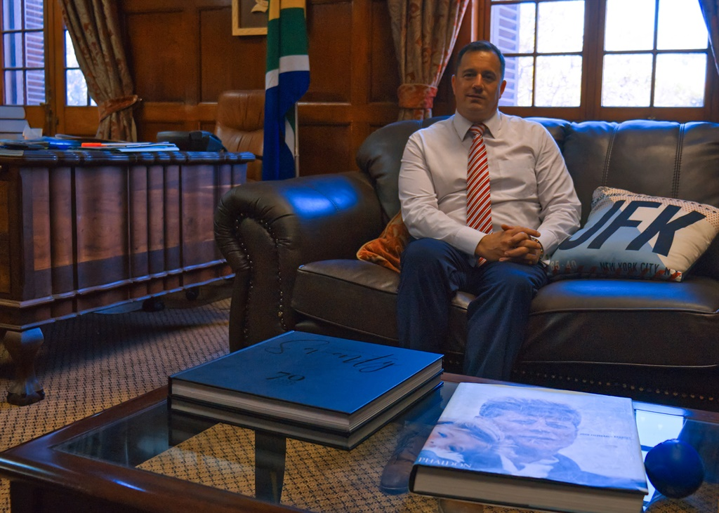 John Steenhuisen in his office in the Marks Building at Parliament. The office once belonged to prime ministers Louis Botha and Jan Smuts.