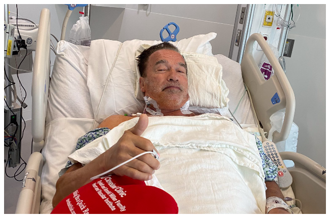 Arnold Schwarzenegger in hospital for heart surgery in a recent Instagram post (Photo: Arnold Schwarzenegger/Instagram)