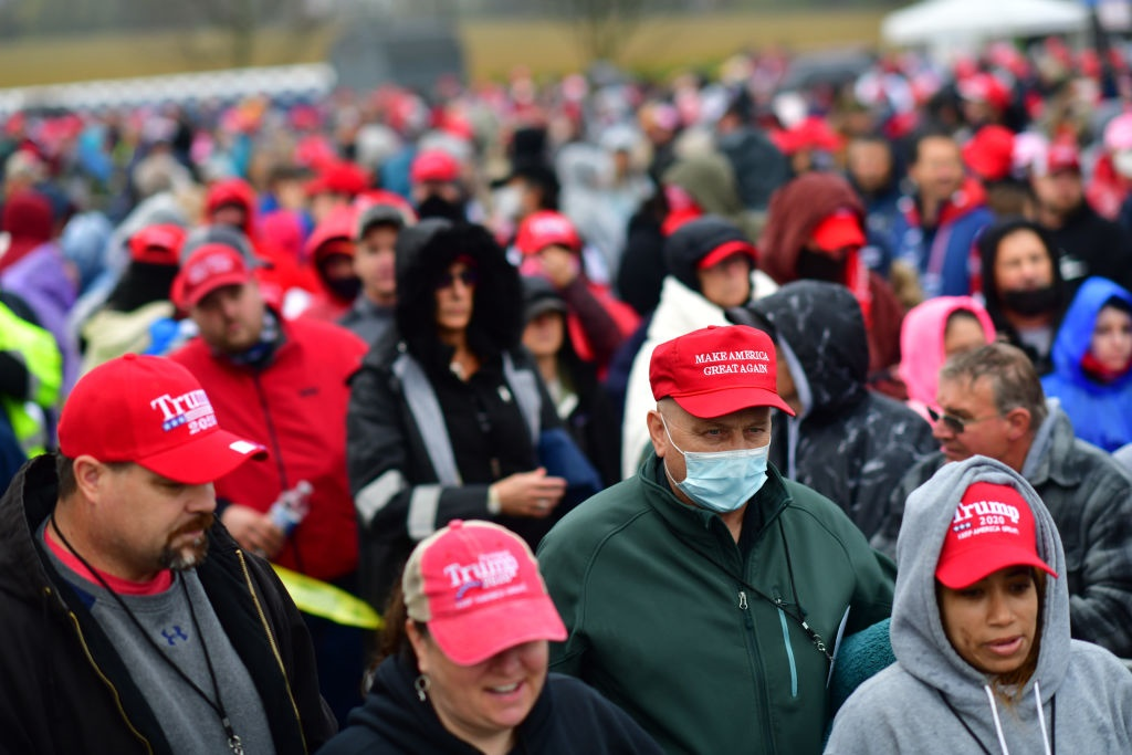 Supporters queue before US President Donald Trump holds a rally on in Lititz, Pennsylvania.